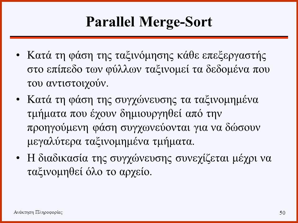 Ανάκτηση Πληροφορίας 49 Parallel Merge-Sort Ο αλγόριθμος θεωρεί ότι οι επεξεργαστές σχηματίζουν μία δενδρική δομή. Κάθε επεξεργαστής που βρίσκεται σε