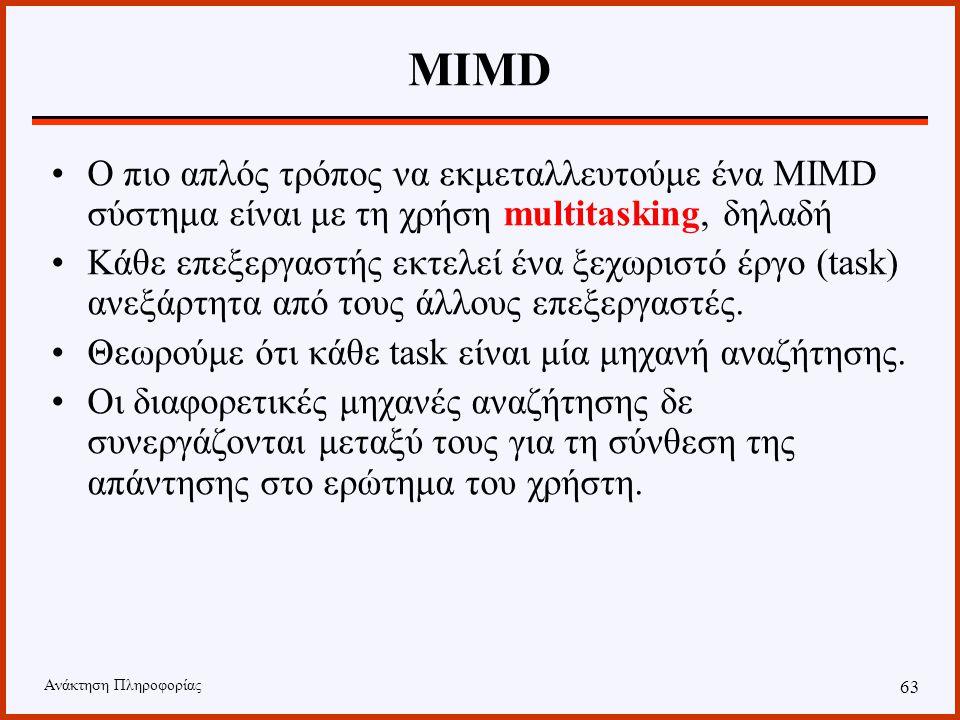 Ανάκτηση Πληροφορίας 62 Παράλληλη IR Αρχιτεκτονική MIMD –Inverted Files –Suffix Arrays –Signature Files Αρχιτεκτονική SIMD –Inverted Files –Signature