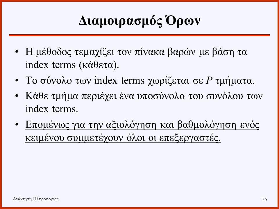 Ανάκτηση Πληροφορίας 74 Διαμοιρασμός Εγγράφων Ο πίνακας των βαρών τεμαχίζεται με βάση τα έγγραφα (οριζόντια). Τα Ν κείμενα της συλλογής κατανέμονται σ