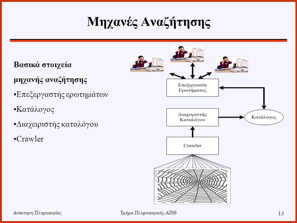 Ανάκτηση ΠληροφορίαςΤμήμα Πληροφορικής ΑΠΘ 13 Μηχανές Αναζήτησης Βασικά στοιχεία μηχανής αναζήτησης Επεξεργαστής ερωτημάτων Κατάλογος Διαχειριστής καταλόγου Crawler