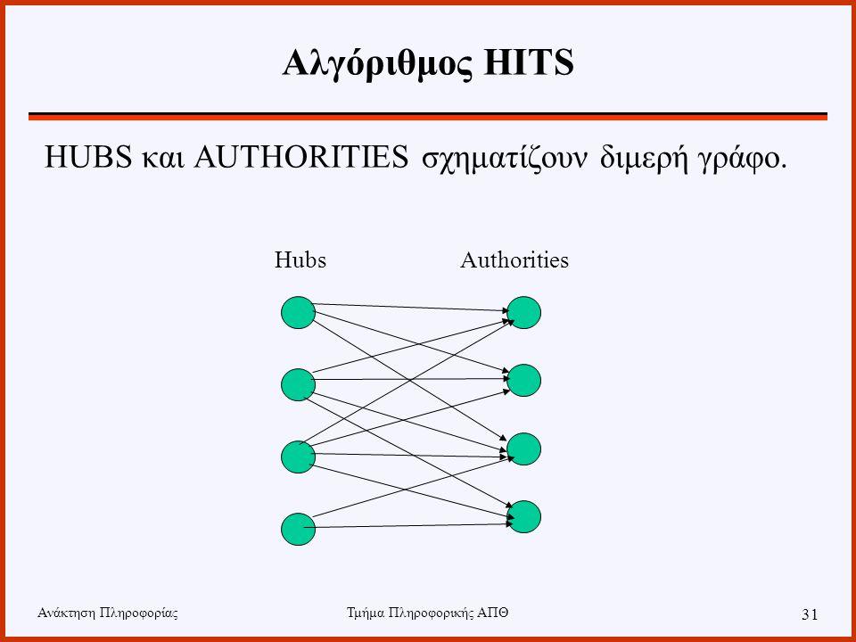 Ανάκτηση ΠληροφορίαςΤμήμα Πληροφορικής ΑΠΘ 31 Αλγόριθμος HITS HUBS και AUTHORITIES σχηματίζουν διμερή γράφο.
