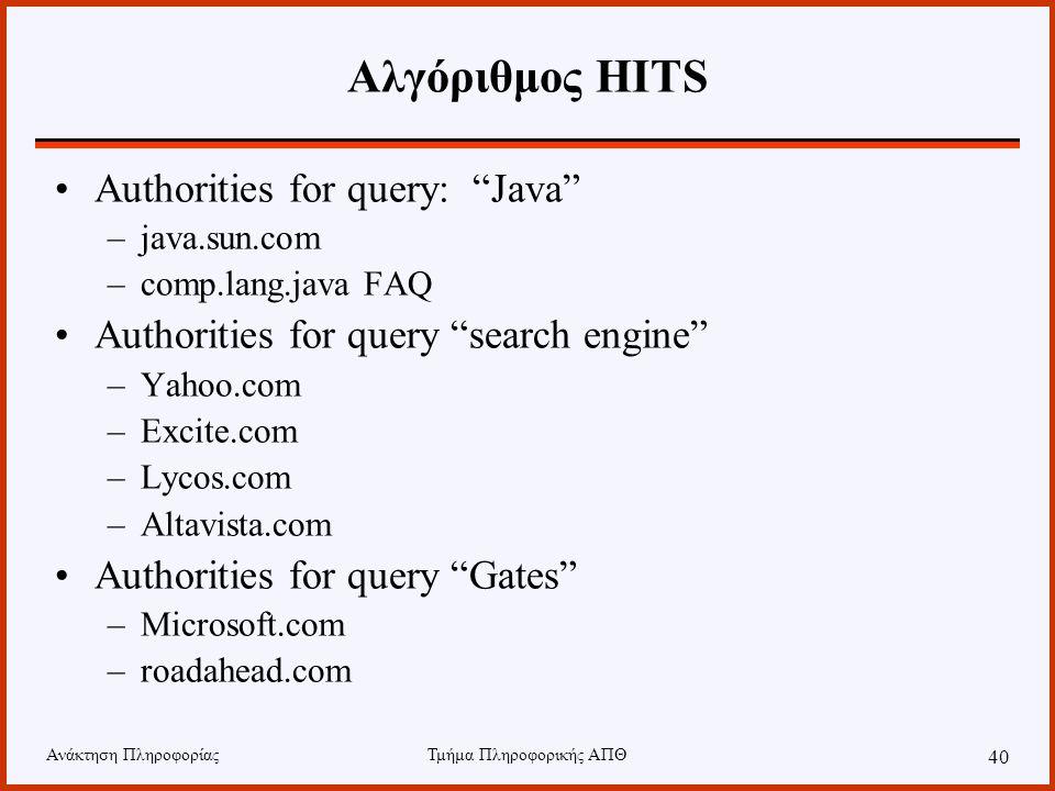 Ανάκτηση ΠληροφορίαςΤμήμα Πληροφορικής ΑΠΘ 40 Αλγόριθμος HITS Authorities for query: Java –java.sun.com –comp.lang.java FAQ Authorities for query search engine –Yahoo.com –Excite.com –Lycos.com –Altavista.com Authorities for query Gates –Microsoft.com –roadahead.com