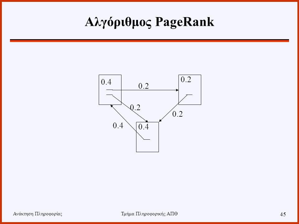 Ανάκτηση ΠληροφορίαςΤμήμα Πληροφορικής ΑΠΘ 45 Αλγόριθμος PageRank 0.4 0.2 0.4