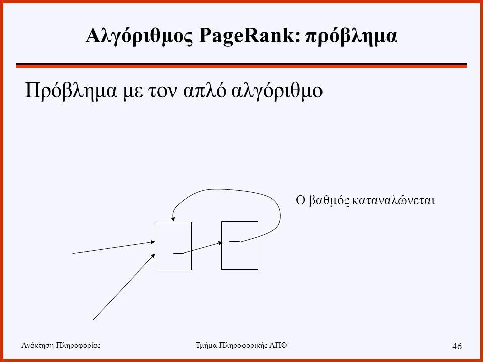 Ανάκτηση ΠληροφορίαςΤμήμα Πληροφορικής ΑΠΘ 46 Αλγόριθμος PageRank: πρόβλημα Πρόβλημα με τον απλό αλγόριθμο Ο βαθμός καταναλώνεται