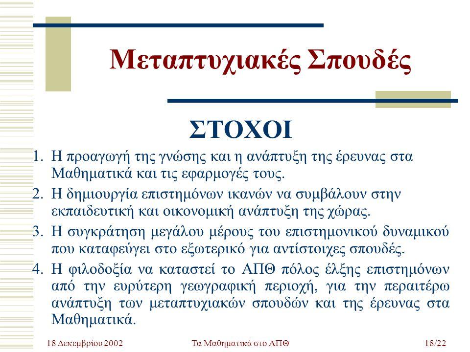 18 Δεκεμβρίου 2002 Τα Μαθηματικά στο ΑΠΘ18/22 Μεταπτυχιακές Σπουδές ΣΤΟΧΟΙ 1.Η προαγωγή της γνώσης και η ανάπτυξη της έρευνας στα Μαθηματικά και τις ε