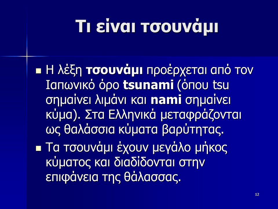 12 Τι είναι τσουνάμι Η λέξη τσουνάμι προέρχεται από τον Ιαπωνικό όρο tsunami (όπου tsu σημαίνει λιμάνι και nami σημαίνει κύμα). Στα Ελληνικά μεταφράζο