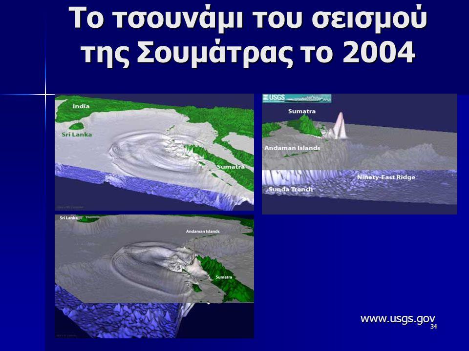 34 To τσουνάμι του σεισμού της Σουμάτρας το 2004 www.usgs.gov