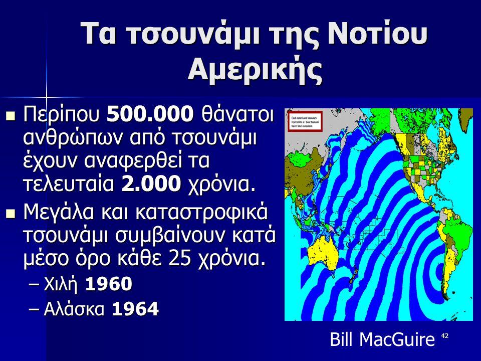 42 Τα τσουνάμι της Νοτίου Αμερικής Περίπου 500.000 θάνατοι ανθρώπων από τσουνάμι έχουν αναφερθεί τα τελευταία 2.000 χρόνια. Μεγάλα και καταστροφικά τσ