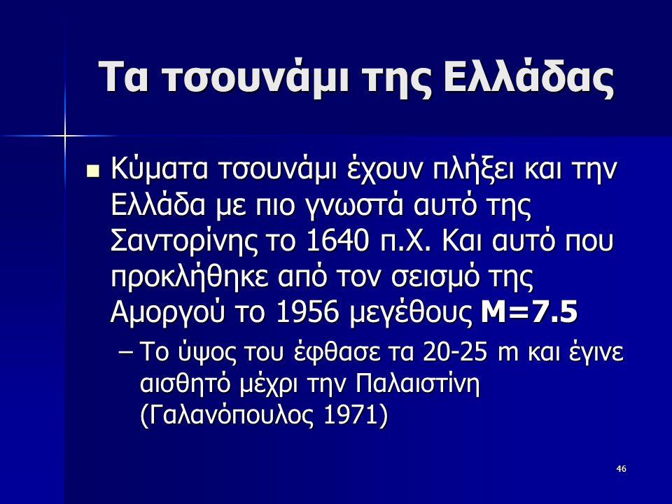 46 Tα τσουνάμι της Ελλάδας Κύματα τσουνάμι έχουν πλήξει και την Ελλάδα με πιο γνωστά αυτό της Σαντορίνης το 1640 π.Χ. Και αυτό που προκλήθηκε από τον