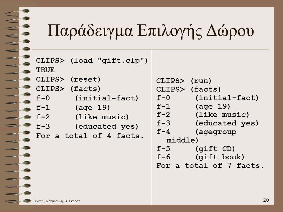 Τεχνητή Νοημοσύνη, Β Έκδοση 20 Παράδειγμα Επιλογής Δώρου CLIPS> (load gift.clp ) TRUE CLIPS> (reset) CLIPS> (facts) f-0 (initial-fact) f-1 (age 19) f-2 (like music) f-3 (educated yes) For a total of 4 facts.