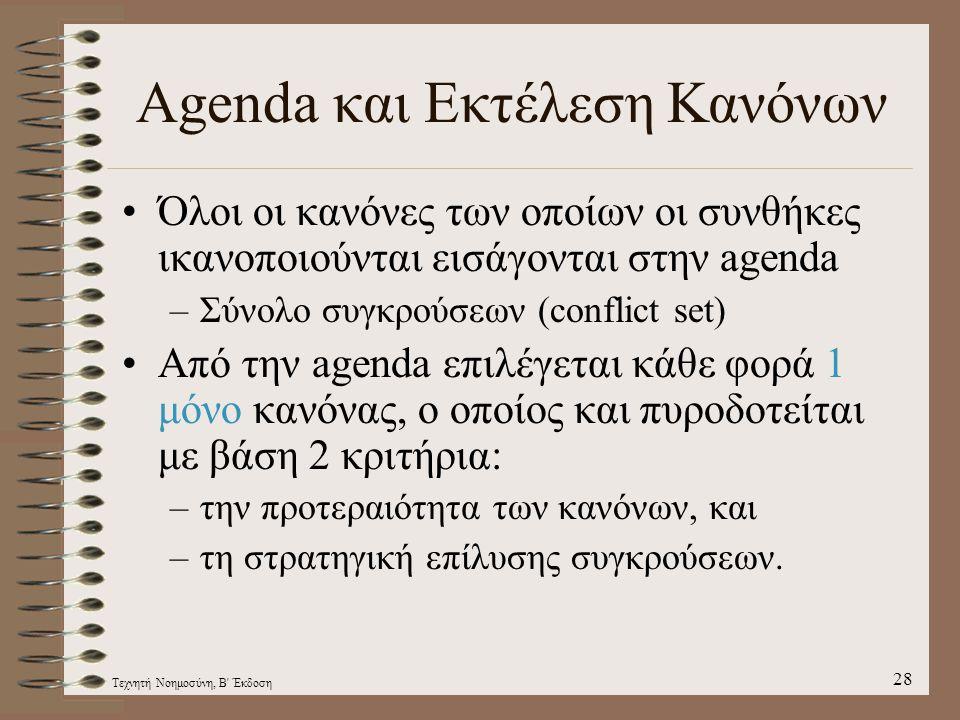 Τεχνητή Νοημοσύνη, Β Έκδοση 28 Agenda και Εκτέλεση Κανόνων Όλοι οι κανόνες των οποίων οι συνθήκες ικανοποιούνται εισάγονται στην agenda –Σύνολο συγκρούσεων (conflict set) Από την agenda επιλέγεται κάθε φορά 1 μόνο κανόνας, ο οποίος και πυροδοτείται με βάση 2 κριτήρια: –την προτεραιότητα των κανόνων, και –τη στρατηγική επίλυσης συγκρούσεων.
