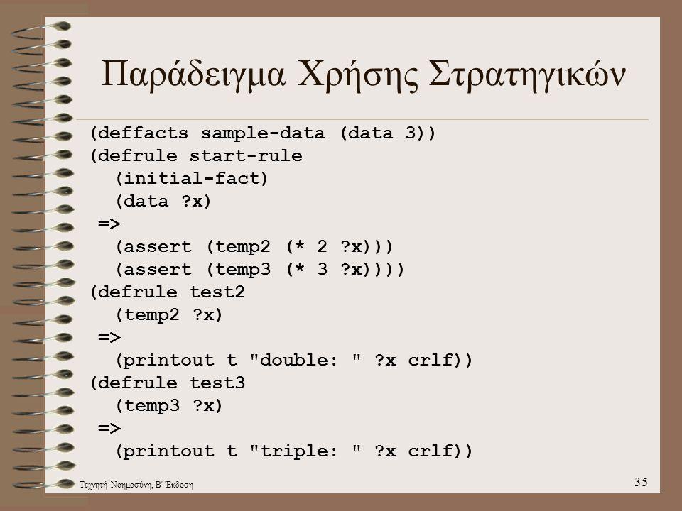 Τεχνητή Νοημοσύνη, Β Έκδοση 35 Παράδειγμα Χρήσης Στρατηγικών (deffacts sample-data (data 3)) (defrule start-rule (initial-fact) (data ?x) => (assert (temp2 (* 2 ?x))) (assert (temp3 (* 3 ?x)))) (defrule test2 (temp2 ?x) => (printout t double: ?x crlf)) (defrule test3 (temp3 ?x) => (printout t triple: ?x crlf))