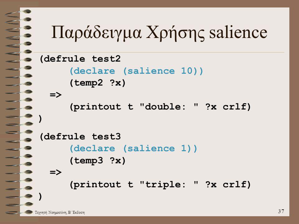 Τεχνητή Νοημοσύνη, Β Έκδοση 37 Παράδειγμα Χρήσης salience (defrule test2 (declare (salience 10)) (temp2 ?x) => (printout t double: ?x crlf) ) (defrule test3 (declare (salience 1)) (temp3 ?x) => (printout t triple: ?x crlf) )