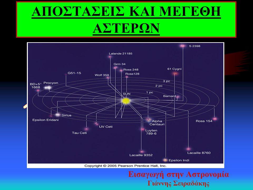 Αστρικά Μεγέθη - Φωτομετρία Ψυχοφυσικός νόμος Weber - Fechner m = α log(ℓ) + c Πτολεμαίος (83 – 161 μ.Χ.) [m= 1: λαμπροί αστέρες,..., m = 6: αμυδροί αστέρες] Pogson (1856) m(1) → ℓ 1 και m(6) → ℓ 6, τότε ℓ 1 / ℓ 6 = 100 m 2 – m 1 = 2.5 log(ℓ 1 /ℓ 2 )
