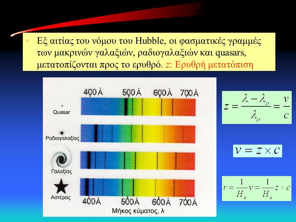 Εξ αιτίας του νόμου του Hubble, οι φασματικές γραμμές των μακρινών γαλαξιών, ραδιογαλαξιών και quasars, μετατοπίζονται προς το ερυθρό. z: Ερυθρή μετατ