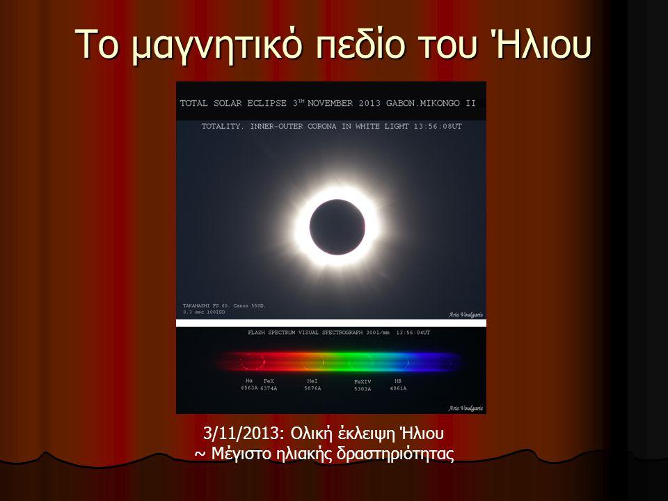 Το μαγνητικό πεδίο του Ήλιου 3/11/2013: Ολική έκλειψη Ήλιου ~ Μέγιστο ηλιακής δραστηριότητας