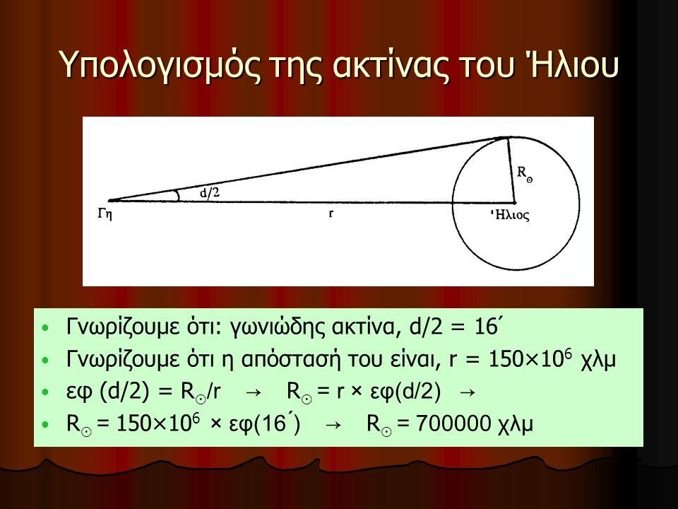 Υπολογισμός της ακτίνας του Ήλιου Γνωρίζουμε ότι: γωνιώδης ακτίνα, d/2 = 16 Γνωρίζουμε ότι η απόστασή του είναι, r = 150×10 6 χλμ εφ (d/2) = R ⊙ /r →