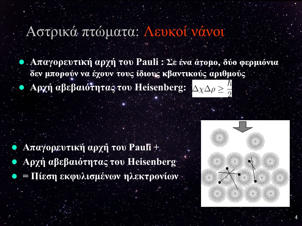 5 Αστρικά πτώματα: Λευκοί νάνοι Σχέση μάζας-ακτίνας λευκών νάνων Όριο Chandrashekhar