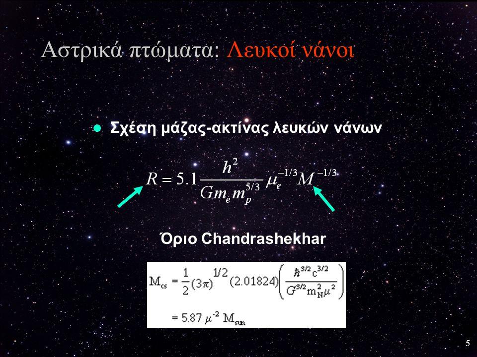 6 Τελικές καταστάσεις Αστέρων Συνθήκες στο εσωτερικό ενός λευκού νάνου Σείριος Β Λευκός νάνος άνθρακα ρ = 3×10 6 gr/cm 3 r C = .