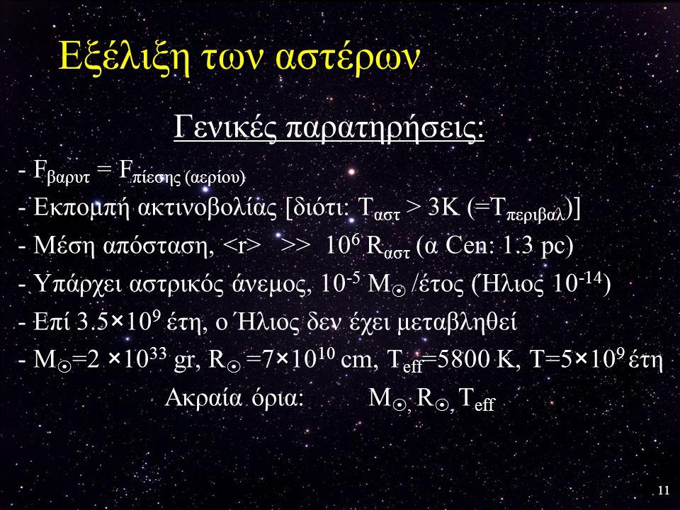 11 Εξέλιξη των αστέρων Γενικές παρατηρήσεις: - F βαρυτ = F πίεσης (αερίου) - Εκπομπή ακτινοβολίας [διότι: Τ αστ > 3Κ (=Τ περιβαλ )] - Μέση απόσταση, >