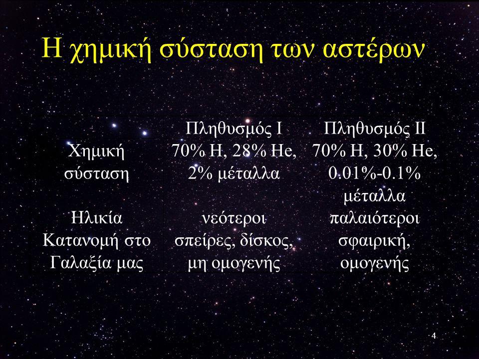 4 Η χημική σύσταση των αστέρων Πληθυσμός IΠληθυσμός II Xημική σύσταση 70% H, 28% He, 2% μέταλλα 70% Η, 30% Ηe, 0.01%-0.1% μέταλλα Hλικίανεότεροιπαλαιό