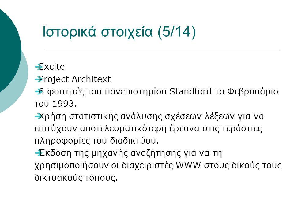 Ιστορικά στοιχεία (5/14)  Excite  Project Architext  6 φοιτητές του πανεπιστημίου Standford το Φεβρουάριο του 1993.