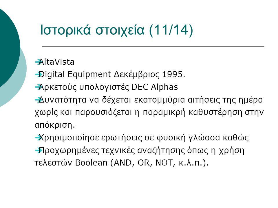 Ιστορικά στοιχεία (11/14)  AltaVista  Digital Equipment Δεκέμβριος 1995.