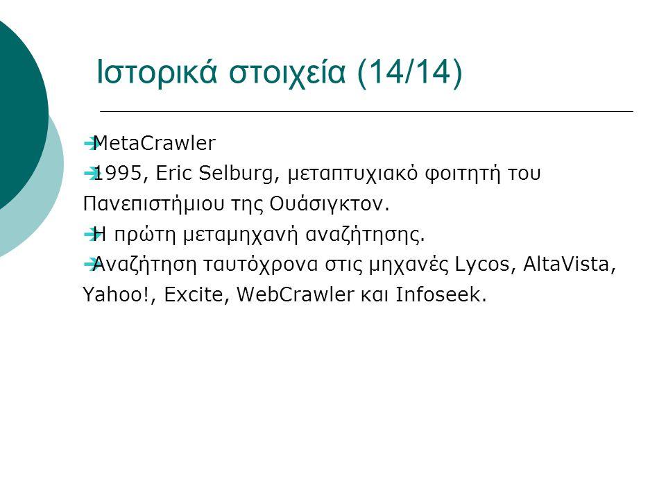 Ιστορικά στοιχεία (14/14)  MetaCrawler  1995, Eric Selburg, μεταπτυχιακό φοιτητή του Πανεπιστήμιου της Ουάσιγκτον.