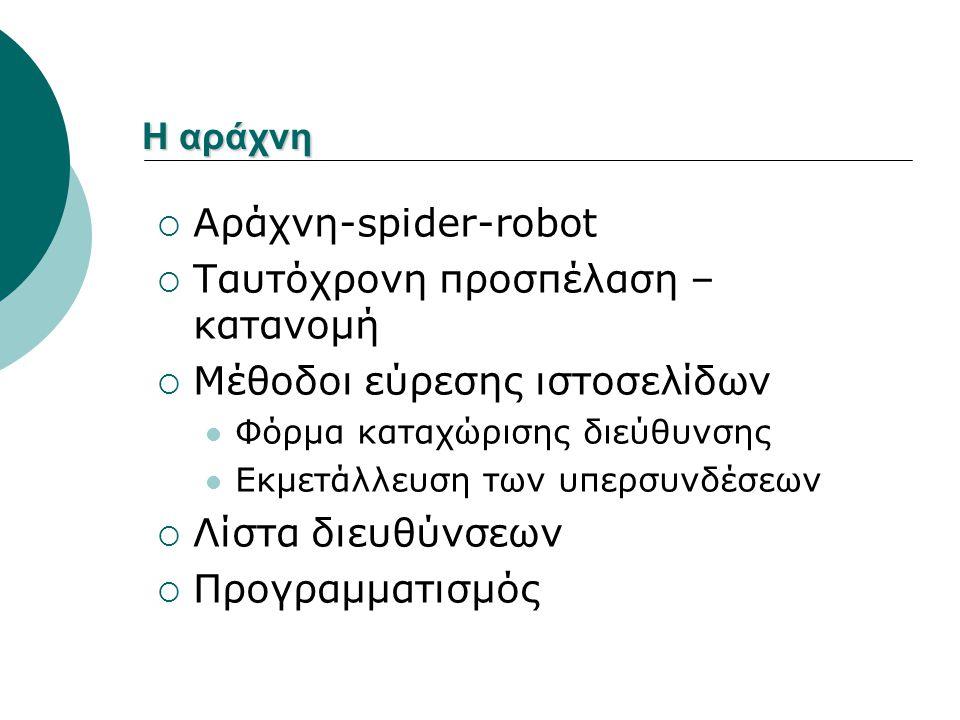 Η αράχνη  Αράχνη-spider-robot  Ταυτόχρονη προσπέλαση – κατανομή  Μέθοδοι εύρεσης ιστοσελίδων Φόρμα καταχώρισης διεύθυνσης Εκμετάλλευση των υπερσυνδέσεων  Λίστα διευθύνσεων  Προγραμματισμός