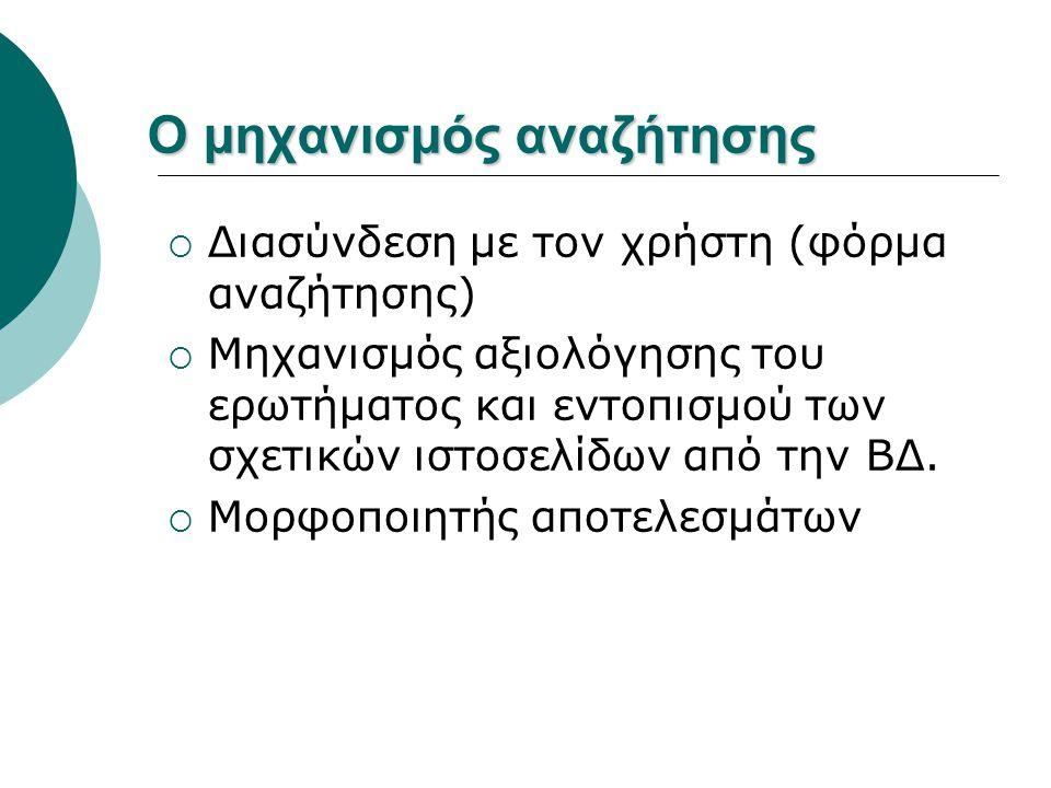 Ο μηχανισμός αναζήτησης  Διασύνδεση με τον χρήστη (φόρμα αναζήτησης)  Μηχανισμός αξιολόγησης του ερωτήματος και εντοπισμού των σχετικών ιστοσελίδων από την ΒΔ.
