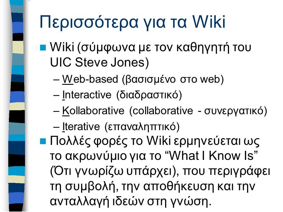 Περισσότερα για τα Wiki Wiki (σύμφωνα με τον καθηγητή του UIC Steve Jones) –Web-based (βασισμένο στο web) –Interactive (διαδραστικό) –Kollaborative (collaborative - συνεργατικό) –Iterative (επαναληπτικό) Πολλές φορές το Wiki ερμηνεύεται ως το ακρωνύμιο για το What I Know Is (Ότι γνωρίζω υπάρχει), που περιγράφει τη συμβολή, την αποθήκευση και την ανταλλαγή ιδεών στη γνώση.