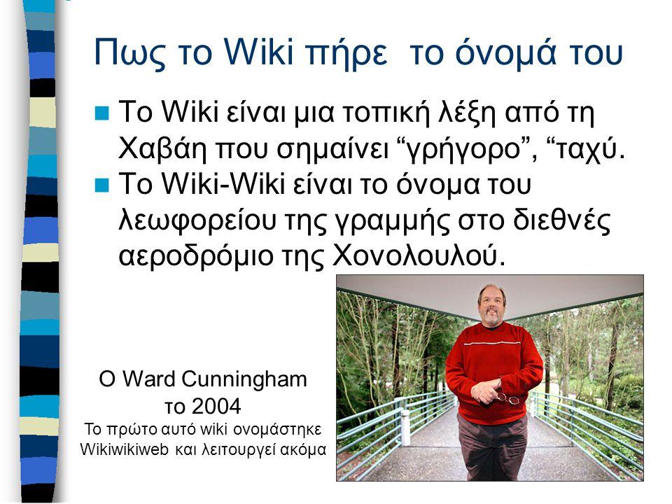 Πως το Wiki πήρε το όνομά του Το Wiki είναι μια τοπική λέξη από τη Χαβάη που σημαίνει γρήγορο , ταχύ.
