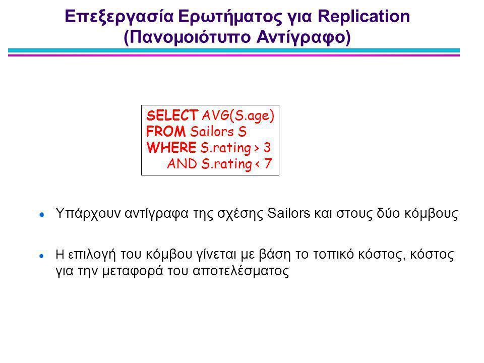 Επεξεργασία Ερωτήματος για Replication (Πανομοιότυπο Αντίγραφο) Υπάρχουν αντίγραφα της σχέσης Sailors και στους δύο κόμβους Η ε πιλογή του κόμβου γίνε