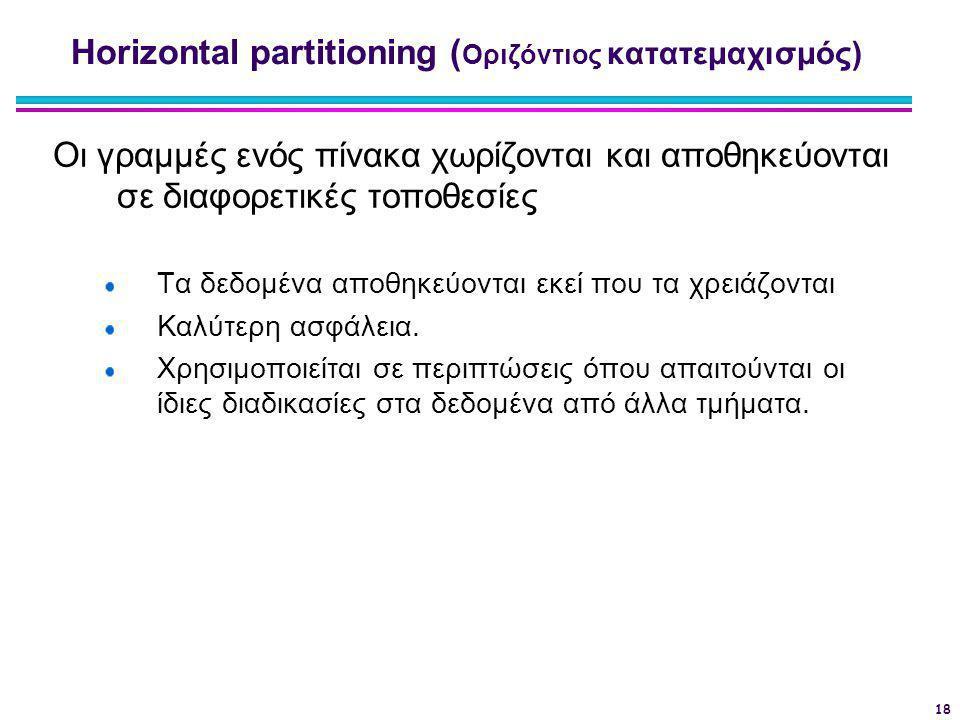 18 Horizontal partitioning ( Οριζόντιος κατατεμαχισμός) Οι γραμμές ενός πίνακα χωρίζονται και αποθηκεύονται σε διαφορετικές τοποθεσίες Τα δεδομένα απο
