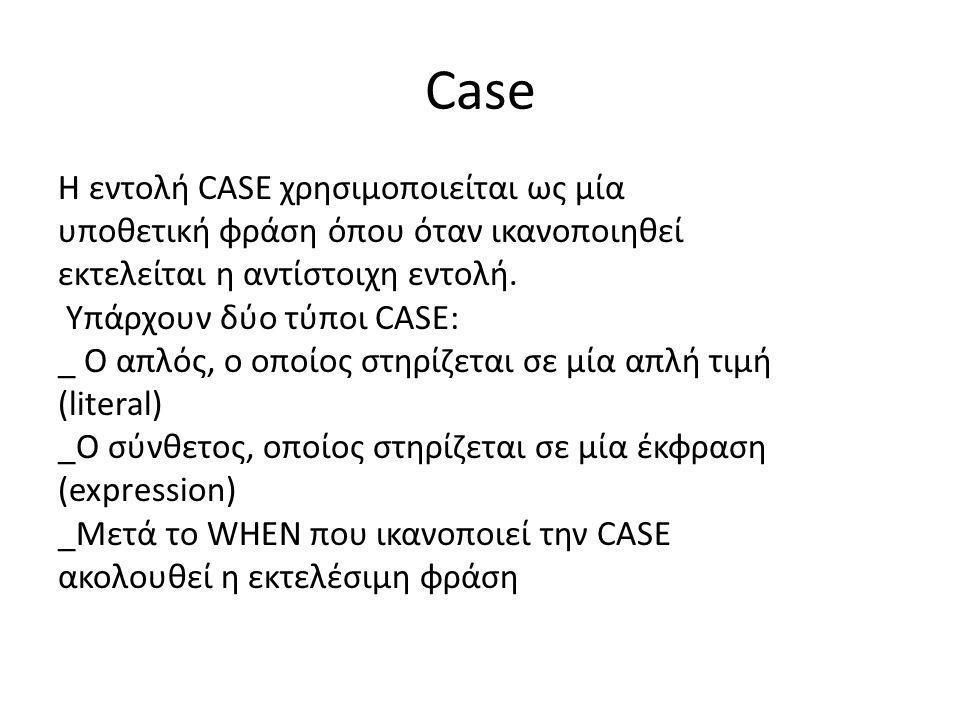 Case Η εντολή CASE χρησιμοποιείται ως μία υποθετική φράση όπου όταν ικανοποιηθεί εκτελείται η αντίστοιχη εντολή. Υπάρχουν δύο τύποι CASE: _ O απλός, ο