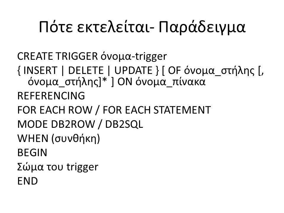 Πότε εκτελείται- Παράδειγμα CREATE TRIGGER όνομα-trigger { INSERT | DELETE | UPDATE } [ OF όνομα_στήλης [, όνομα_στήλης]* ] ON όνομα_πίνακα REFERENCIN