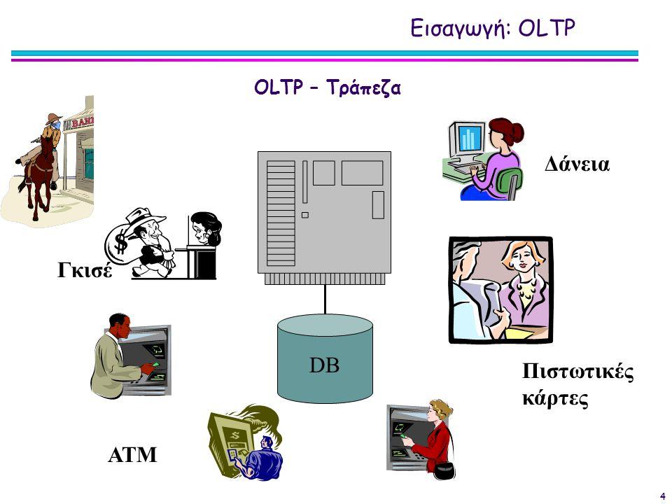 4 DB ΑΤΜ Γκισέ Πιστωτικές κάρτες Δάνεια OLTP – Τράπεζα Εισαγωγή: OLTP