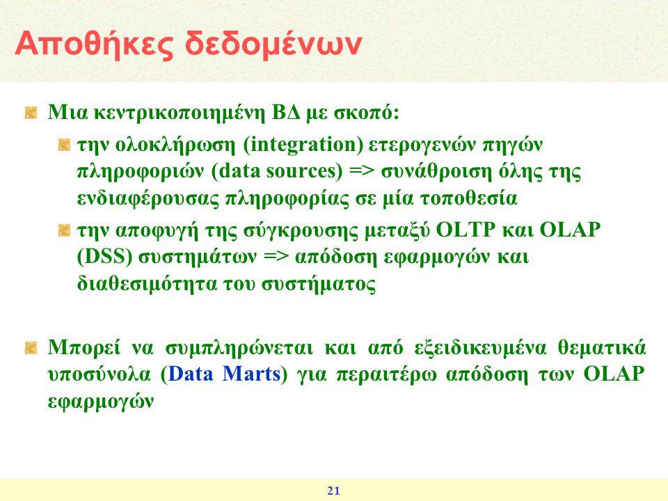 21 Μια κεντρικοποιημένη ΒΔ με σκοπό: την ολοκλήρωση (integration) ετερογενών πηγών πληροφοριών (data sources) => συνάθροιση όλης της ενδιαφέρουσας πλη