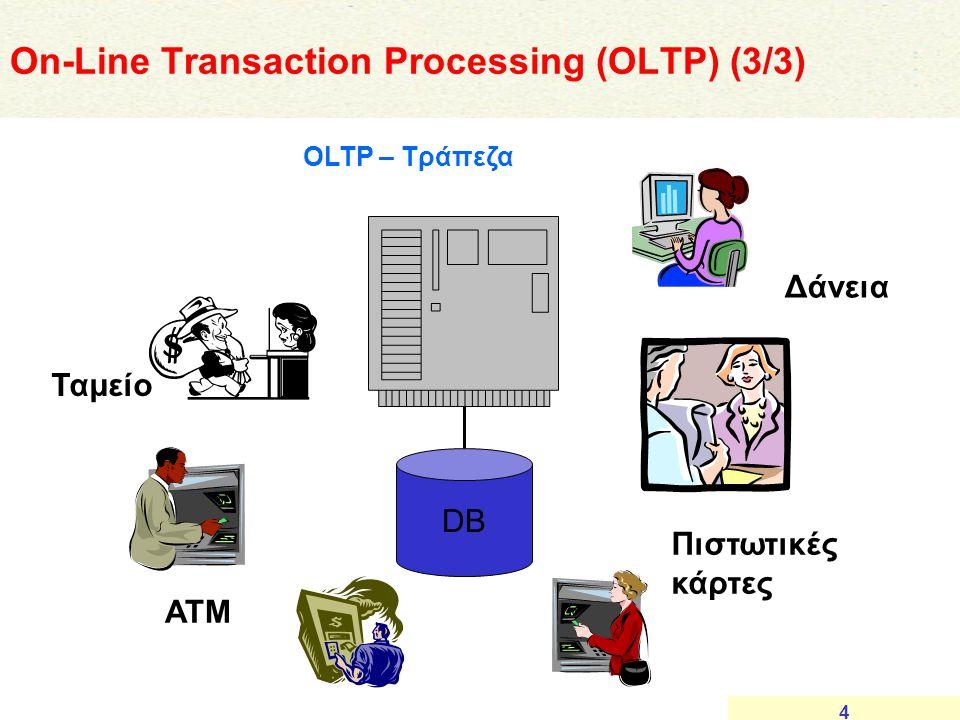 4 DB ΑΤΜ Ταμείο Πιστωτικές κάρτες Δάνεια OLTP – Τράπεζα On-Line Transaction Processing (OLTP) (3/3)