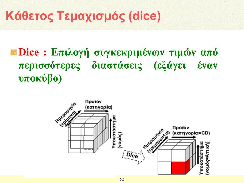 53 Dice : Επιλογή συγκεκριμένων τιμών από περισσότερες διαστάσεις (εξάγει έναν υποκύβο) Κάθετος Τεμαχισμός (dice)