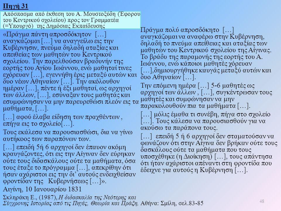 Πηγή 31 Απόσπασμα από έκθεση του Α. Μουστοξύδη (Έφορου του Κεντρικού σχολείου) προς τον Γραμματέα (=Υπουργό) της Δημόσιας Εκπαίδευσης «Πράγμα πάντη απ