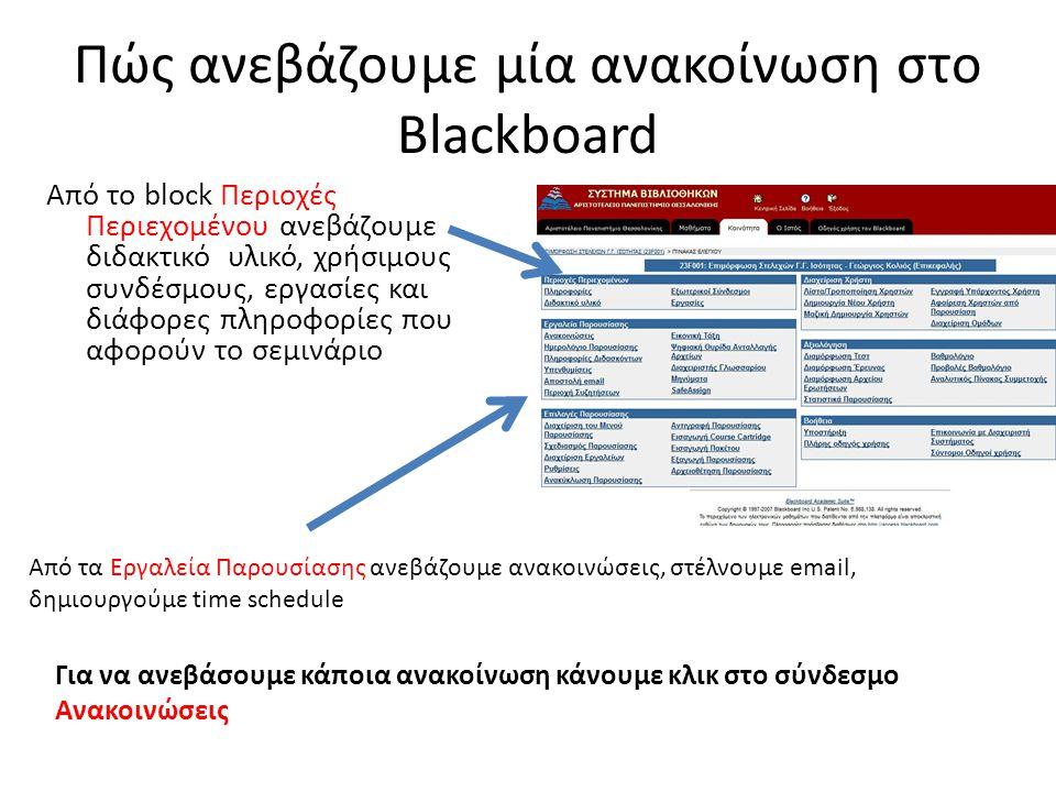 Πώς ανεβάζουμε μία ανακοίνωση στο Blackboard Από το block Περιοχές Περιεχομένου ανεβάζουμε διδακτικό υλικό, χρήσιμους συνδέσμους, εργασίες και διάφορες πληροφορίες που αφορούν το σεμινάριο Από τα Εργαλεία Παρουσίασης ανεβάζουμε ανακοινώσεις, στέλνουμε email, δημιουργούμε time schedule Για να ανεβάσουμε κάποια ανακοίνωση κάνουμε κλικ στο σύνδεσμο Ανακοινώσεις