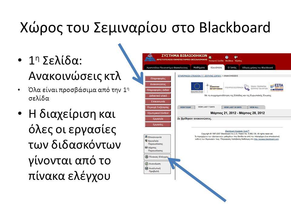 Πίνακας Ελέγχου Από το block Περιοχές Περιεχομένου ανεβάζουμε διδακτικό υλικό, χρήσιμους συνδέσμους, εργασίες και διάφορες πληροφορίες που αφορούν το σεμινάριο Από τα Εργαλεία Παρουσίασης ανεβάζουμε ανακοινώσεις, στέλνουμε email, δημιουργούμε χρονολόγιο Από το block Αξιολόγηση μπορούμε να δούμε τις εργασίες που στέλνουν οι εκπαιδευόμενοι και να δημιουργούμε τεστ αξιολόγησης