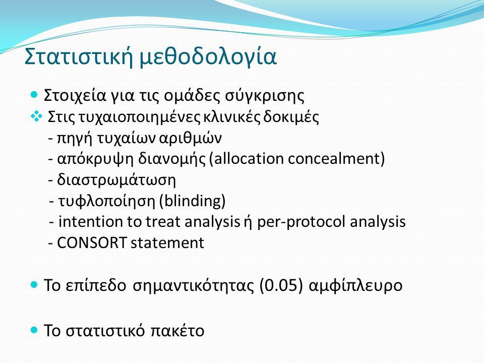 Στατιστική μεθοδολογία Στοιχεία για τις ομάδες σύγκρισης  Στις τυχαιοποιημένες κλινικές δοκιμές - πηγή τυχαίων αριθμών - απόκρυψη διανομής (allocatio