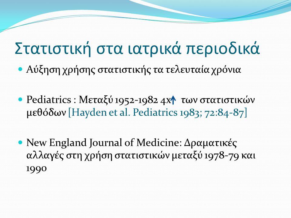 Στατιστική στα ιατρικά περιοδικά Αύξηση χρήσης στατιστικής τα τελευταία χρόνια Pediatrics : Μεταξύ 1952-1982 4x των στατιστικών μεθόδων [Hayden et al.