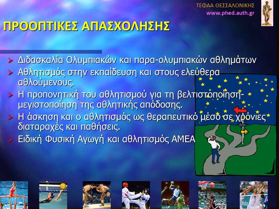 ΠΡΟΟΠΤΙΚΕΣ ΑΠΑΣΧΟΛΗΣΗΣ  Διδασκαλία Ολυμπιακών και παρα-ολυμπιακών αθλημάτων  Αθλητισμός στην εκπαίδευση και στους ελεύθερα αθλούμενους.  Η προπονητ
