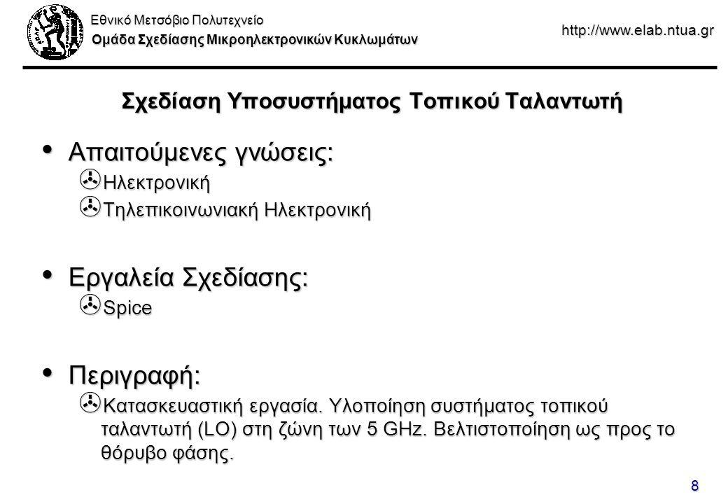 Εθνικό Μετσόβιο Πολυτεχνείο Ομάδα Σχεδίασης Μικροηλεκτρονικών Κυκλωμάτων http://www.elab.ntua.gr 8 Σχεδίαση Υποσυστήματος Τοπικού Ταλαντωτή Απαιτούμενες γνώσεις: Απαιτούμενες γνώσεις: > Ηλεκτρονική > Τηλεπικοινωνιακή Ηλεκτρονική Εργαλεία Σχεδίασης: Εργαλεία Σχεδίασης: > Spice Περιγραφή: Περιγραφή: > Κατασκευαστική εργασία.