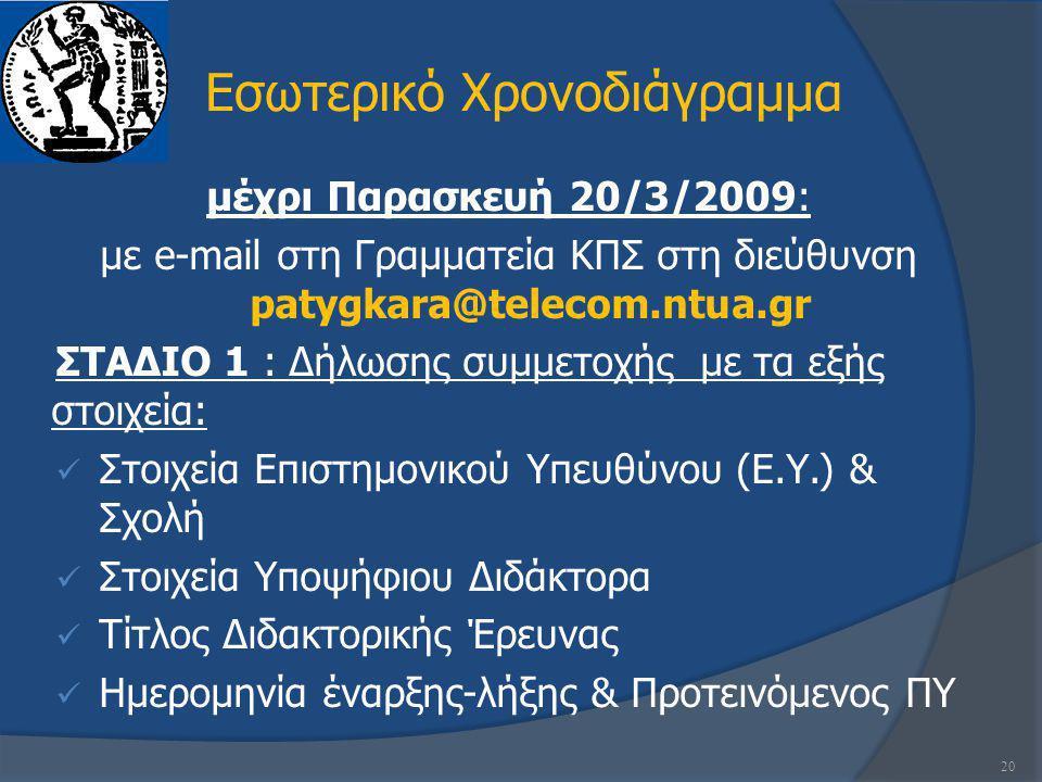 Εσωτερικό Χρονοδιάγραμμα μέχρι Παρασκευή 20/3/2009: με e-mail στη Γραμματεία ΚΠΣ στη διεύθυνση patygkara@telecom.ntua.gr ΣΤΑΔΙΟ 1 : Δήλωσης συμμετοχής