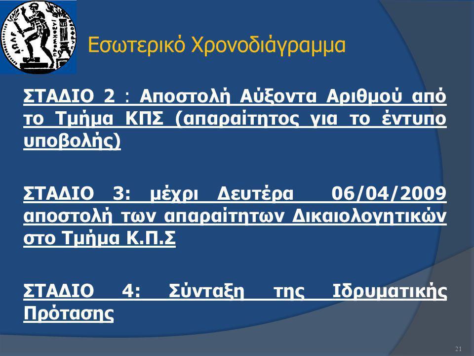 ΣΤΑΔΙΟ 2 : Αποστολή Αύξοντα Αριθμού από το Τμήμα ΚΠΣ (απαραίτητος για το έντυπο υποβολής) ΣΤΑΔΙΟ 3: μέχρι Δευτέρα 06/04/2009 αποστολή των απαραίτητων