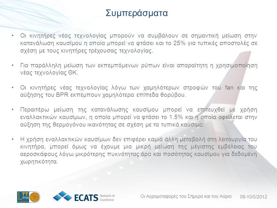 Οι Αερομεταφορές του Σήμερα και του Αύριο 09-10/5/2012 Οι κινητήρες νέας τεχνολογίας μπορούν να συμβάλουν σε σημαντική μείωση στην κατανάλωση καυσίμου η οποία μπορεί να φτάσει και το 25% για τυπικές αποστολές σε σχέση με τους κινητήρες τρέχουσας τεχνολογίας.
